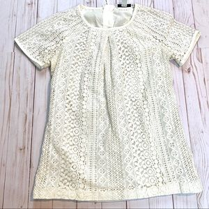 Banana Republic Ivory Lace Eyelet Blouse Size 0